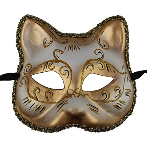 Venetian Masquerade Party Half Mask Cat Shape Eye Mask Halloween Costume Mask (Gold)
