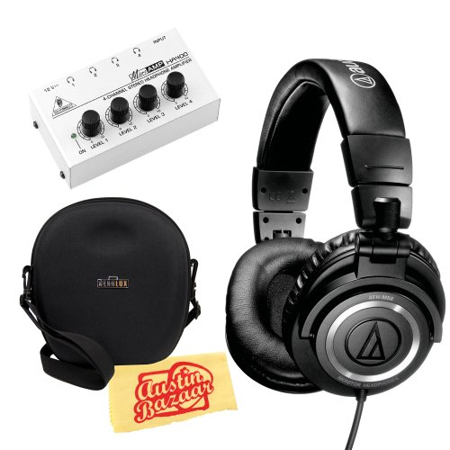 Audio-Technica M50S Professional Studio Monitor Headphones With Straight Cable Bundle With Carrying Case, Headphone Amp, And Polishing Cloth