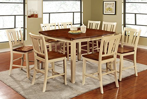 Furniture Of America Macchio 9 Piece Transitional Pub Dining Set CherryVintag
