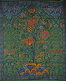 Tree of Life Tapestry-Bedspread-Wall Hang-Green-Twin