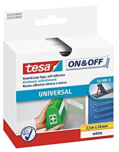 tesa On & Off Klettband, weiß, 2,5m x 20mm