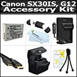 Accessory Kit For The Canon SX30IS SX30 IS Canon G12 Digital Camera Includes USB 2.0 High Speed Card Reader + Extended Replacement NB-7L (1500 mAH) Battery + Ac/Dc Rapid Battery Charger + Deluxe Case + Mini HDMI Cable + Clear LCD Screen Protectors + More