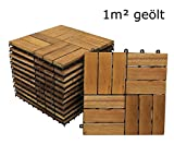 SAM® Terrassenfliese 02 30x30 cm aus Akazien-Holz, 11er Spar-Set für 1 m², Garten-Fliese mit 12 Latten, Bodenbelag mit Drainage-System, Klick-Fliesen für Terrasse Balkon, Mosaik-Muster-Terrassenbelag