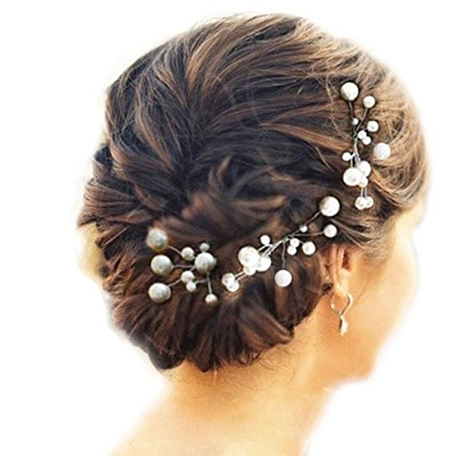 6 Stk. Perlen Strass Hochzeit Brautschmuck Braut Haarschmuck Strass Haarklammer