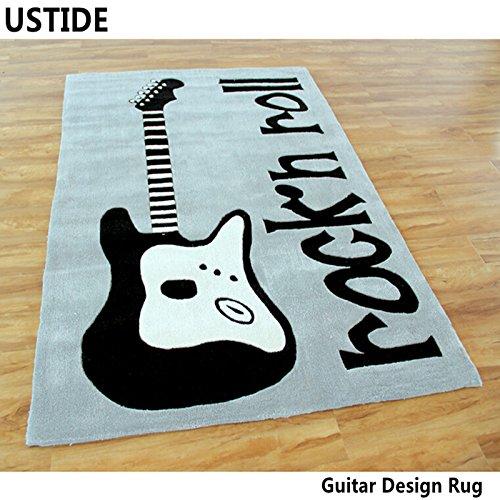 Superb Black Electric Guitars Rug In 100% Nylon Loop Pile, 5u2032 X 7u2032