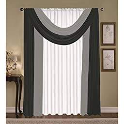 Golden First Stop Haia Window Curtain Set Panels & Scarfs, Black, 4 Piece
