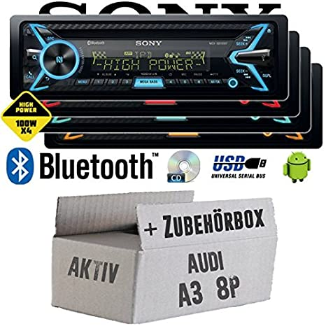 Audi A3 8P AKTIV - Sony MEX-XB100BT - Bluetooth | CD | MP3 | USB | 4x100 Watt Autoradio - Einbauset