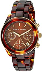 Kenneth Jay Lane Women's KJLANE-4002 4000 Series Tortoise-Pattern Watch with Brown Dial