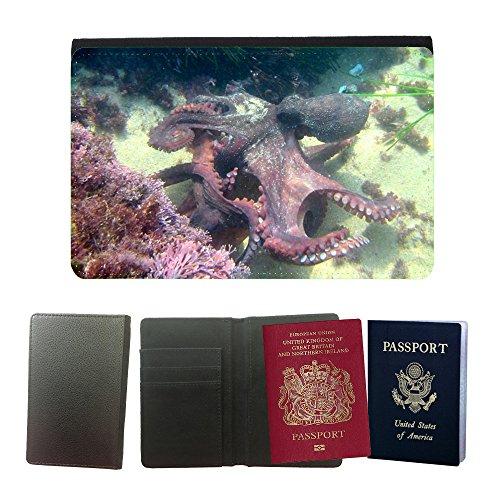 Just Phone Cases Flip PU Leather Travel Passport Wallet Case with Flight Ticket Slots // M00127719 Octopus Kraken Sea Life Animal Scuba // Universal passport leather cover (Sea Life Tickets compare prices)