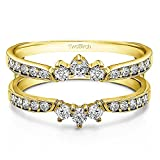 0.56 ct. CZ Crown Inspired Half Halo Wedding Ring Guard Enhancer in Yellow Silver (1/2 ct. twt.)