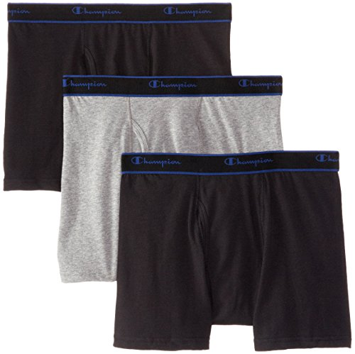 Champion Men's 3 Pack Performance Cotton Short Leg Boxer Briefs, Black/Grey/Black, X-Large