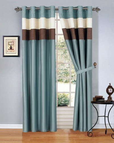 modern blue brown beige faux silk taffeta grommet window curtain drape set 108 by 84 inch. Black Bedroom Furniture Sets. Home Design Ideas