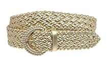 1 1/4 Inch Wide Metallic Braided Woven Belt Size: L - 40 Color: Gold