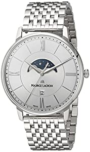 Maurice Lacroix Men's 'Eliros' Quartz Stainless Steel Casual Watch, Color:Silver-Toned (Model: EL1108-SS002-110-1)