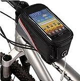 Esky 自転車 フレームバッグ 防水 大容量 サイクリング イヤホンホール付き 5.5インチスマホ対応 タッチスクリーン 反射ストライプ付き