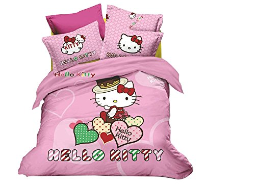 Cliab 5 Pieces Pink Queen Size Hello Kitty Comforter Set Reversible Removable And Washable Duvet-Styled Comforter Set Hello Kitty Bedding Queen Size Set Hello Kitty Bedding Queen Set Hello Kitty Bedding Set Queen