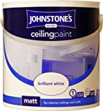 Johnstones No Ordinary Paint One Coat Water Based Matt Ceiling Paint Brilliant White 2.5L