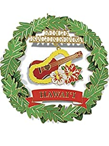 Hawaiian Ukulele Ukelele Metal Christmas Ornament
