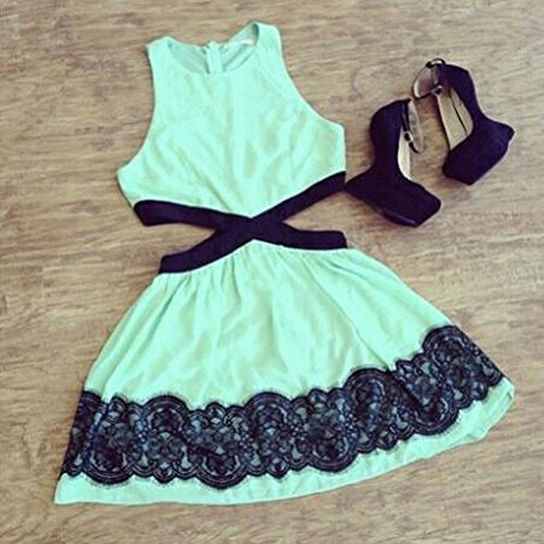 Women Clothing Black Mint Green mini Contrast
