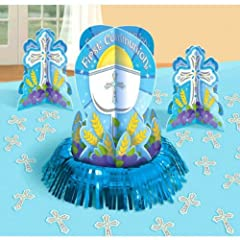 First Communion Blue Table Decorating Kit with 1 Large Centerpiece, 2 Small Centerpieces and 20 Cross Confetti Pieces