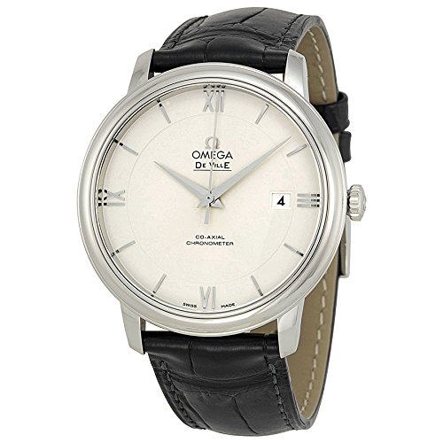Omega De Ville Prestige Silver Dial Black Leather Mens Watch 424.13.40.20.02.001 (Omega Seamaster Deville compare prices)