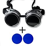 New Sell Vintage Steampunk Goggles Glasses Welding Cyber Punk Gothic – Silver Frame with 2 Lens