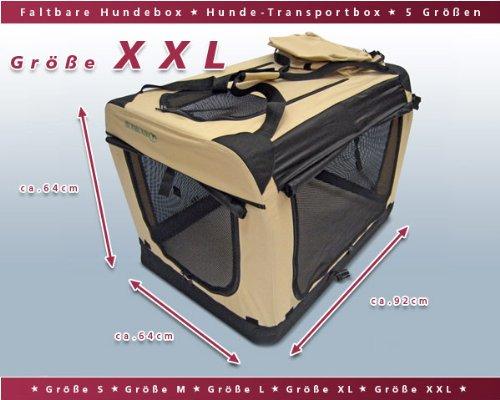 Faltbare-Hunde-Transportbox-Auto-Transportbox-XXL-Schwarz-Beige