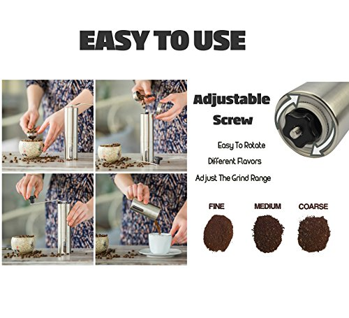Eugenys Manual Coffee Grinder - Best Ceramic Burr for Precision Brewing - French Press, Aeropress Compatible - Perfect Conical Mill for Traveling - Stainless Steel Coffee & Tea Scoop
