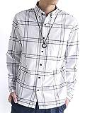 (モノマート) MONO-MART オックスフォード シャツ 長袖 デザイン 柄 無地 ビジネス デザイナーズ 爽やか 快適 メンズ ウィンドウペンホワイト Mサイズ