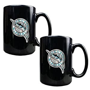Florida Marlins MLB 2pc Black Ceramic Mug Set - Primary Logo by Great American Products