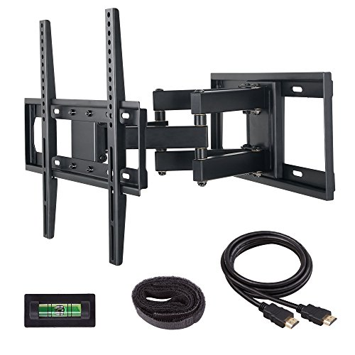 Mounting Dream MD2380 TV Wall Mount Bracket with Full Motion Dual Articulating Arm for most of 26-55 Inches LED, LCD & Plasma TVs with 6 feet HDMI Cable & Magnetic Bubble Level