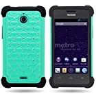 Wireless Central Hybrid Dual Layer Diamond Case for Huawei Ascend Plus H881C / Valiant - Teal Hard Black Soft Silicone