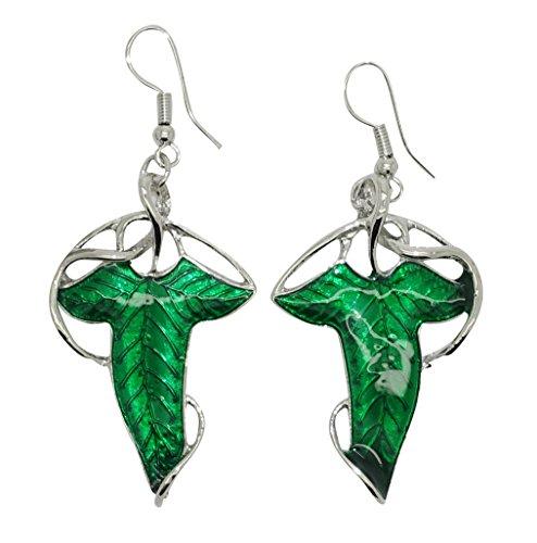 Cyqun Lord of the Rings Elves Green Leaf Earrings,Elf Earrings
