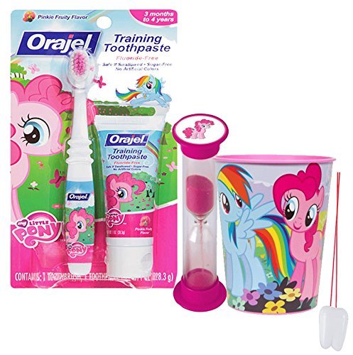 My Little Pony Inspired 4pc Bright Smile Oral Hygiene Set! Soft Manual Toothbrush, Toothpaste, Brushing Timer & Mouthwash Rinse Cup! Plus Bonus