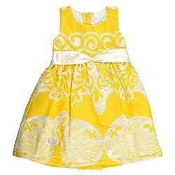 Little Kangaroos Girls Yellow White Dress (8903208892139_Multi-Coloured_3-4 Years)