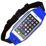 BLUE FOREST 収納力抜群 ウェスト ポーチ ランニング ジョギング 防水性付き スマホ ウエストバッグ 調整可能 ベルト タッチスクリーン iPhone Galaxy Sony 大画面 スマートフォン 収納可能 青色