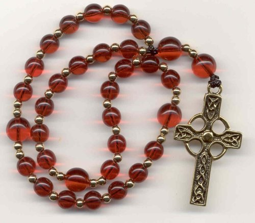 Anglican Prayer Beads, Rosary - Ruby Czech Glass w/Gold-filled Spacers