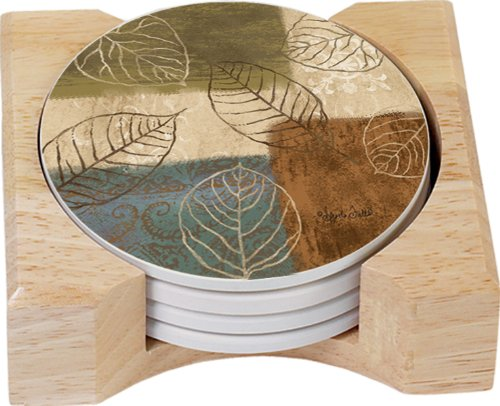 CounterArt Leaf Collage Design Round Absorbent Coasters in Wooden Holder, Set of 4