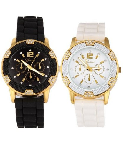 Black and White Rosegold Faux Chronograph Silicone Watch With Rhinestones image