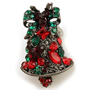Vintage Design Christmas Bow Bell Brooch Pin Multicolor Rhinestone Crystals Christmas Jewelry