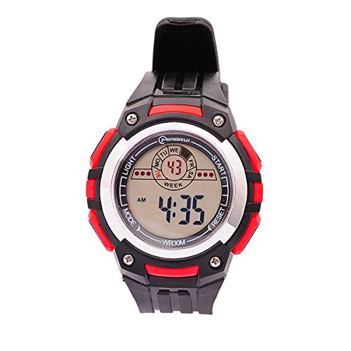 8Years- 1 Stueck Jungen Digitaluhr Armbanduhr Watch Wasserdicht Stoppuhr Sportuhr Rot