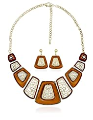 BIG Tree Orange Ornate Necklace Set For Women.