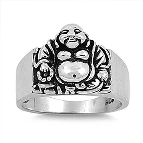Sterling Silver Woman'S Men'S Buddha Buddhism Ring Unique Comfort Fit Band 15Mm Size 10 Valentines Day Gift