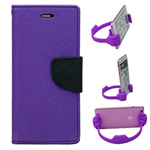 Aart Fancy Diary Card Wallet Flip Case Back Cover For Lenovo A2010 - (Purple) + Flexible Portable Mount Cradle Thumb Ok Stand Holder By Aart store