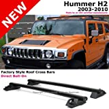 2003 to 2010 Hummer H2 03-10 Black Top Roof Rack Cross Bars Luggage Carrier