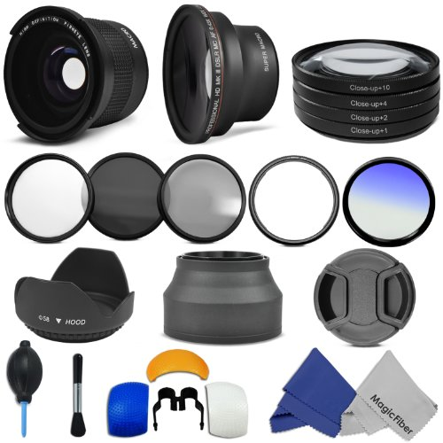 Accessory Kit for CANON PowerShot SX50 HS - Includes: Lens Conversion Adapter + Professional .35x Super Wide Fisheye Lens + 0.43x Wide Angle Lens + Filter Kit (UV CPL ND8) + Macro Close-Up Set + Blue Color Filter + Hard Tulip Lens Hood + Collapsible Lens Hood + Center Pinch Lens Cap + Flash Diffuser Set + Lens Cleaning Kit + MagicFiber Microfiber Cleaning Cloth
