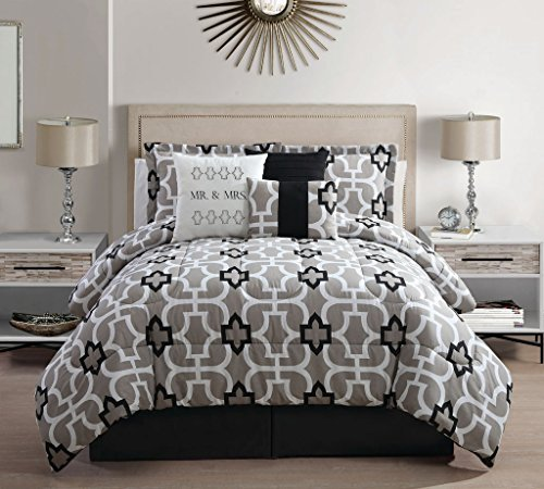 Epic  Piece Cal King Mr And Mrs Print Bed in a Bag w TC Sheet Set
