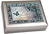 """I Know What Love is Because of You"" Decorative Jewel Lid Musical Music Jewelry Box - Plays You Light Up My Life"