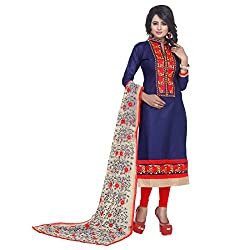 K Mart Embroidery Cotton & Net Semi Stitched Straight Suits 1010