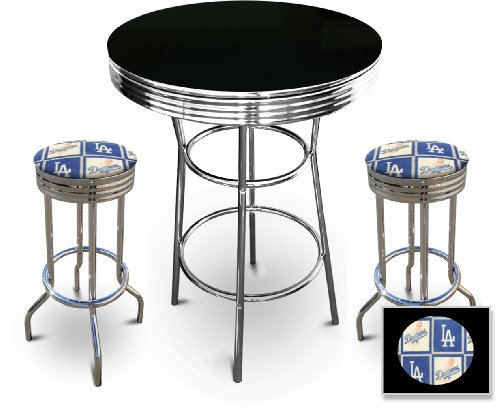 New 3 Piece Black Bar Table Set includes 2 Swivel Seat Bar Stools with Los Angeles Dodgers Themed Seat Cushions! at Amazon.com